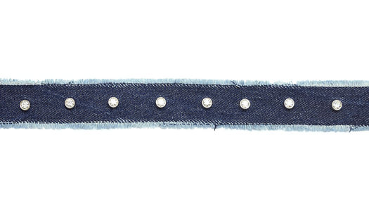 NASTRO IN DENIM BLU CON STRASS